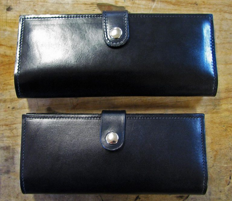First prototype vs. final women's leather wallet