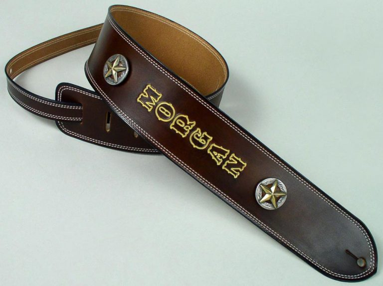 unlined, sewn double border personalized guitar strap