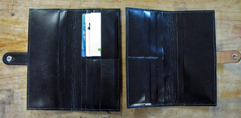 Card wallet pocket interiors of the two different designs