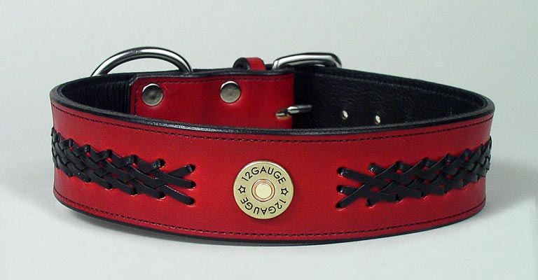 red braided leather dog collar
